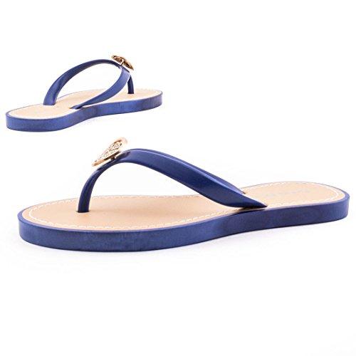 Trendige Damen Sandalen Slipper Zehentrenner Bade Schuhe mit Strass in verschiedenen Farben Blau