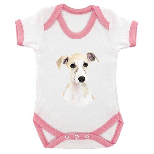 Whippet Kopf Bild Baby Body mit Baby Pink Kontrast Trim & Schwarz Print -