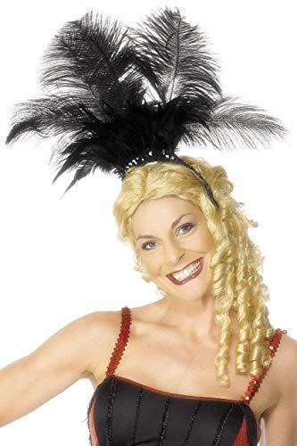 Smiffys Coiffe danseuse de can can, noire, avec plumes