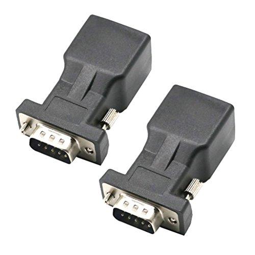 Serieller Extender (KESOTO 2stk DB9 9 Pin RS232 auf RJ45 Buchse Connector Extender Stecker auf Buchse Anschluss Adapter)