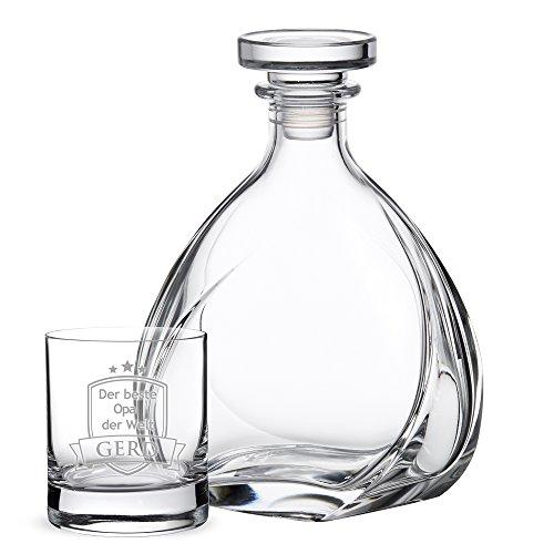 AMAVEL Whiskyset – Whiskykaraffe Lismore – Luftdichter Verschluss – Dekanter – Whiskyglas – Tumbler Design mit Gravur – Der beste Opa der Welt – Personalisiert mit [Namen]– Geschenkidee für Opa