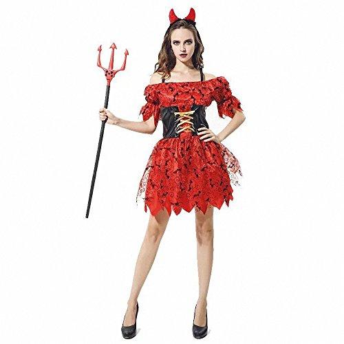 (Sexy Halloween Kostüme für Frauen, Red Devil Ghost Queen Party Cosplay Kostüm aus der Schulter Kleid)