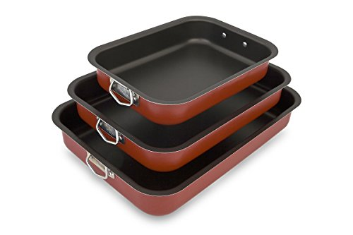 Menax - Non Stick Deep Roasting Oven Baking Tins Trays - Roasting Pan - 3 Piece Set - Made in Italy