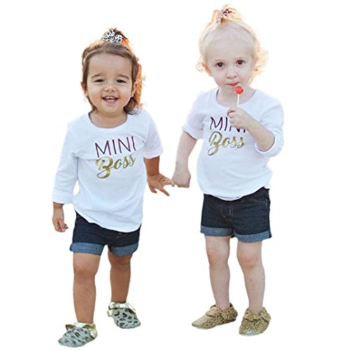 Mutter warm sport langarmshirt Mädchen Jungen Mom Mini Boss druck t-shirt pullis,0-4 Jahren (Weiß, 4 Jahren) (Mom Kostüme)