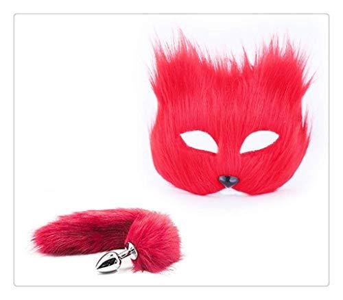 WM-EILIAN Cosplay Maskerade Maske Cosplay Persönlichkeit (Rot) Plüsch Katze Fuchsschwanz