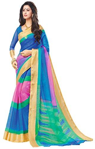 Miraan Women's Organza Saree With Blouse Piece (Srh017_Pink)