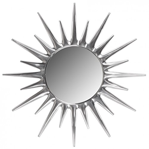 FineBuy Deko Design Wandspiegel Sonne Ø 76 cm aus Aluminium | Wand-Dekoration Metall Spiegel | Geschenk-Idee Alu Rundspiegel Silber