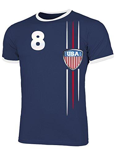 USA 3300 Fussball Fanshirt Fan Shirt Tshirt Fanartikel Artikel Männer Herren Ringer T-Shirts Navy Weiss L -