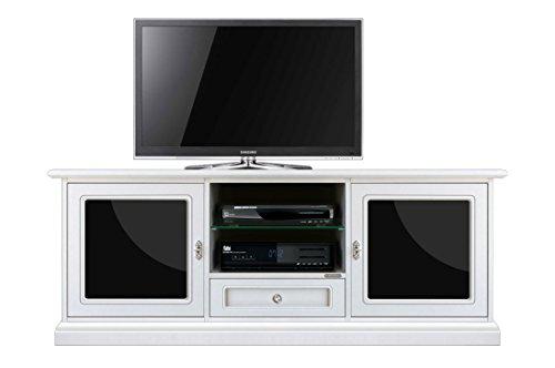 Arteferretto Meuble Banc TV 150 cm, Porte latérales, tiroirs, niches et étagères réglables, plexiglass Noir, Structure en Bois, livré monté