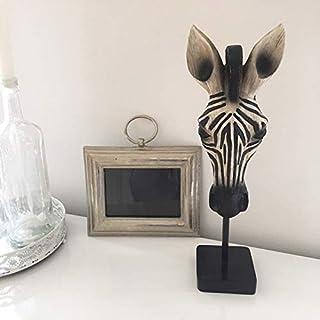 Frida's Skulptur Zebra auf Ständer Deko Figur Standdeko Afrika Tierbüste Zebrakopf