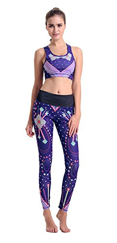 NiSeng Damen Leggings Print Sport Yoga Hosen Fitnesshose mit Yoga BH Tank Top Set Large