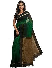 Avik Creations Women's Silk Cotton Saree With Blouse Piece (Ac-79_Green, Black)