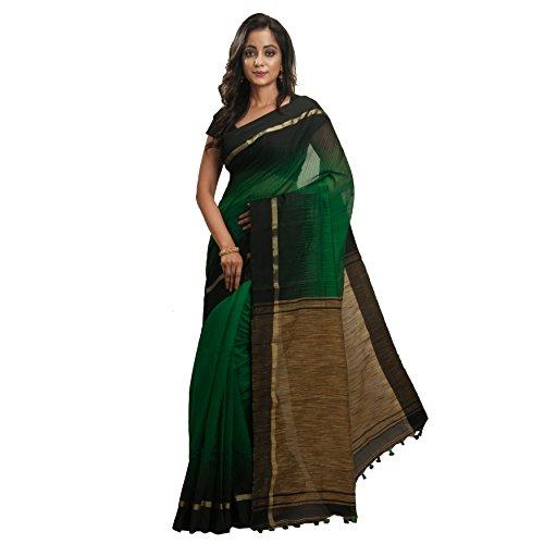 Avik Creations Women's Green Black Silk Cotton Ikkat Khadi Handloom Saree Jute...