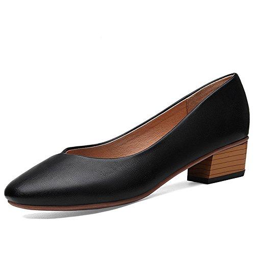 XZGC Tête Carré Grand-Mère Rétro Chaussures Talon Épais avec Spring Chaussures