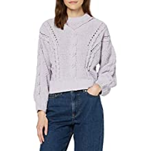 find. Women's Jumper in Chunky Cable Knit Long Sleeves, Purple (Lilac), 14, Label:L