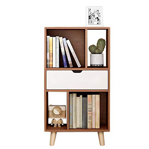 JCNFA Bücherregal Stauraum Für Wohnzimmer Büro Regal Bodenständer Mit Schublade Offene Lagerung, 3 Farben (Farbe : Brown, größe : 19.68 * 9.84 * 36.22in) -