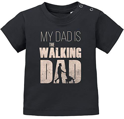 MoonWorks® Baby T-Shirt Kurzarm Babyshirt My Dad is The Walking Dad Jungen Mädchen Zombie Serie Shirt schwarz 92/98 (16-24-Monate) (Zombie Kleines Kind)