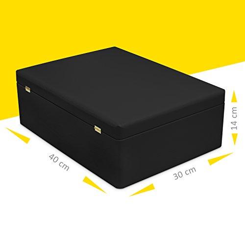 Caja de madera con tapa para almacenamiento - pino pintado negro - aproximadamente 40 x 30 x 14 cm XL - Certificado FSC - Grinscard