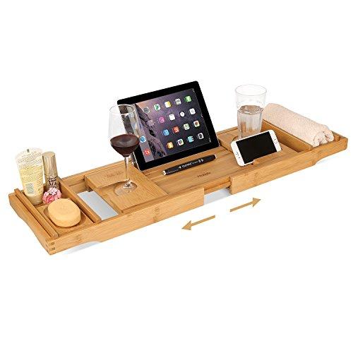 Klappbarer Holz-box (HOMFA Bambus Badewannenablage ausziehbar Badewannenbrett Badewannenauflage mit 2x Handtuch-Boxen und 1x Seifenhalter, 108,5 x 22.5 x 4.5 cm)