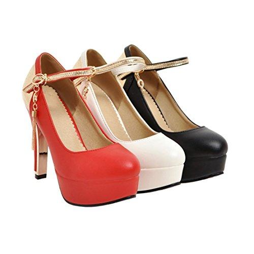 AIYOUMEI Damen Pumps mit Knöchelriemchen Plateau Pumps mit Schnalle Mary Jane Schuhe Weiß