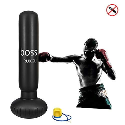 Ruxinggu Bolso De Perforación De Boxeo del Saco De Boxeo Libre, Saco De Boxeo Pesado Inflable del 155cm...