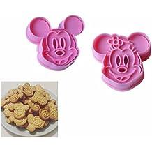 2pcs Molde de Galletas, Cortadores Cuchillo fondant de Galletas para decoración de repostería Pastel, Cookie, Pasta, tortas de Mickey & Minnie Rosa