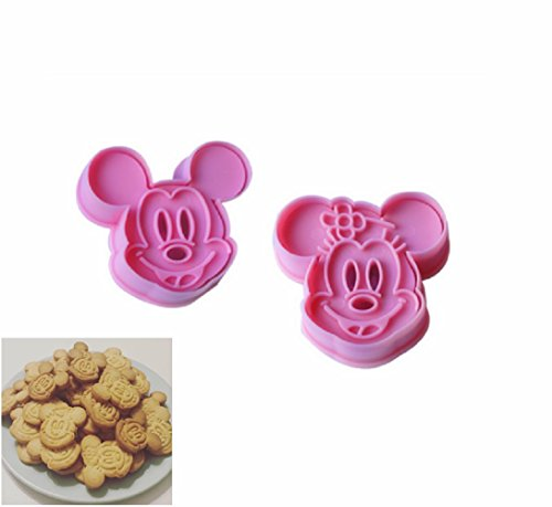 Beauty DIY Mart 2pcs Molde de Galletas, Cortadores Cuchillo Fondant de Galletas para decoración de repostería Pastel, Cookie, Pasta, tortas de Mickey & Minnie Rosa