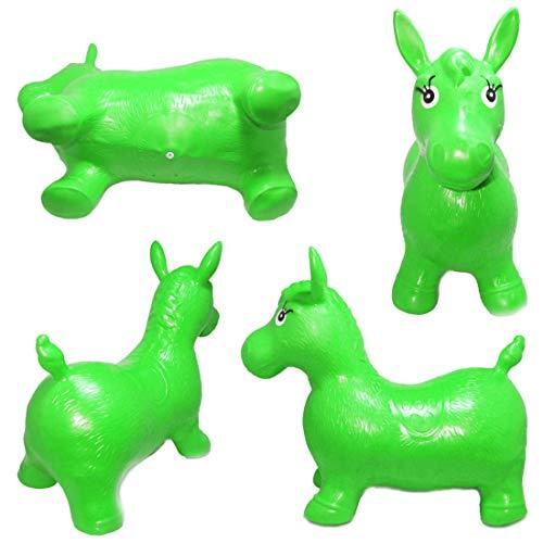 JJOnlineStore - Kinder Jungen Mädchen Tier Space Hopper Happy Aufblasbare Soft Horse Fahrt auf Bouncy Soft Play Spielzeug Hüpfen Übung Spiel (grün)