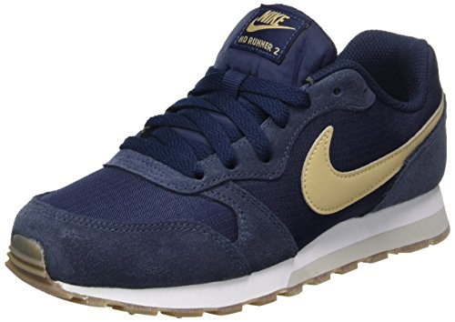 Nike Jungen MD Runner 2 (GS) Sneaker, Blau (Obsidian/Mushroom-Light Bone-Gum Dark Brown), 38 EU (Jungen Sneakers Gs)