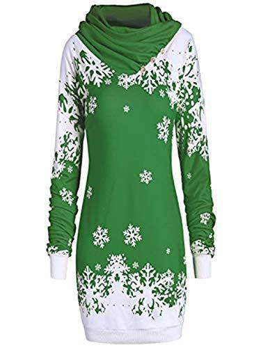 Zylione Frohe Weihnachten Damen Kapuzenpulli Langarm Warmer Schneeflocke Gedruckt Tops Wasserfallausschnitt Elegant Weihnachts Pullover Kleid