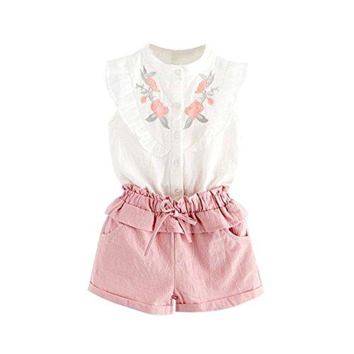 Transer & # x1F338; Baby Mädchen Stickerei T-Shirt Tops + Rosa Shorts Hosen Outfit 5T weiß