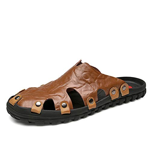 Freizeit Sandalen Für Männer Hausschuhe Atmungsaktiv rutschfeste Niet Verstärkung Strand Schuhe Leder Obermaterial Leichte Verschleißfeste,Grille Schuhe (Color : Braun, Größe : 42 EU) -
