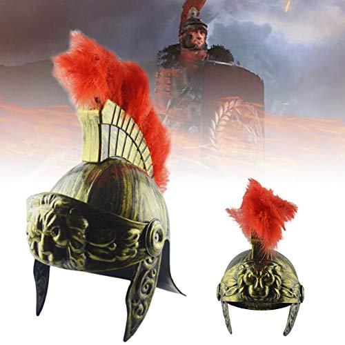 juman634 Roman Vintage Helm Feather Lion Cap Trojan Warrior Samurai Helm Kunststoff Spartan Soldat Hut mittelalterlichen antiken Kostüm (Einfach Lion Kostüm Für Frauen)