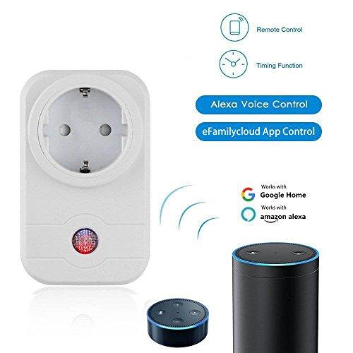 Smart Steckdose (Kompatible mit Amazon Alexa[Echo, Echo Dot] & Google Home), BRESUVE intelligente WLAN Steckdose Wifi Smart Steckdose mit App Steuerung für IOS/Android(Weiß)