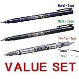 """Pinselstifte """"Fudenosuke"""" von Tombow, harter Stift, weicher Stift und Stift mit doppelter Spitze (Schwarz und Grau), 3 Stück"""
