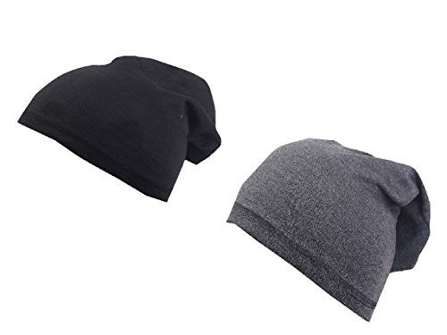Krystle Unisex Cotton Beanie Cap(KRY-PO2-BLK-DGREY-BEANIE-BOY, Black and Dark Grey, Free Size) - Pack of 2