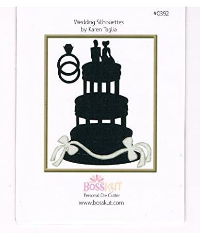 Bosskut wedding cake silhouette with rings, bride, groom and ribbon Cutting Die Use Sizzix Bigshot Cuttlebug Quickutz