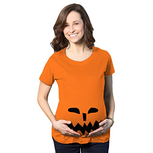 Mutter Beängstigend Tochter Kostüm - Crazy Dog Tshirts - Maternity Spikey Teeth Pumpkin Face Halloween Pregnancy Announcement T Shirt (Orange) - 3XL - Damen - 3XL