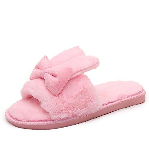 SONGYUNYAN Damen Plüsch niedlichen Hausschuhe Indoor Home rosa grau Pink