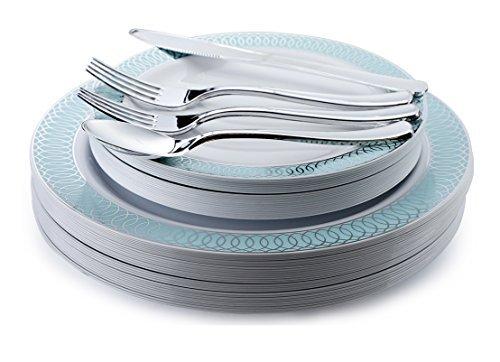 Occasions 720 PCS / 120 Guest Hochzeit Einweg-Kunststoff-Teller und Besteck Combo Set, Venedig Tiffany Blau/Silber
