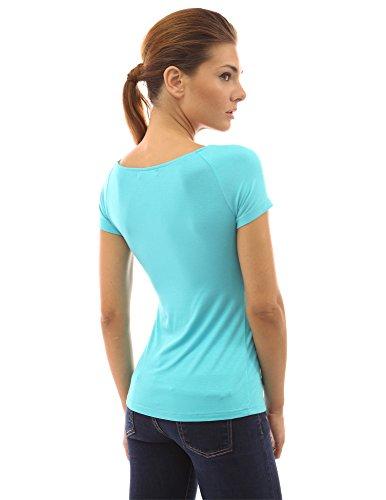PattyBoutik Chemisier femmes en style empire et courtes manches Turquoise