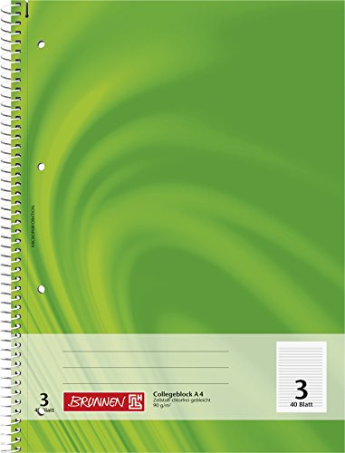 Brunnen 106720302 Notizblock / Collegeblock (liniert, A4, 40 Blatt, Lineatur 3)