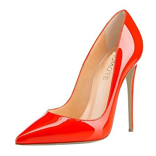 MERUMOTE , Chaussures à talon fin femme Naranja - Orange-Lackleder