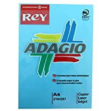 Rey Adagio Ream of Paper Coloured A4 80gsm 500 Sheets - Color: Deep Blue