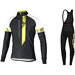 Uglyfrog #04 2017 Nuevo De Invierno Mantener caliente Manga Larga Maillot Ciclismo Hombre Bodies +Long Bib Pant with Gel Pad Winter Style