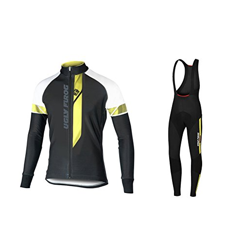 Uglyfrog Bike Wear Vestiti Ciclismo Magliette Jersey+Long Bib Pantaloni Tight Body Sets Uomo Winter Fleece Mountain Bike Manica Corta Camicia Top 02