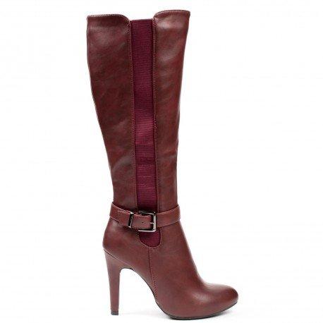 Ideal Shoes - Bottes en similicuir avec bandes élastiques et ceinturon Rose Rouge
