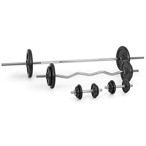 Klarfit • Hantelset • Kurz-& Langhantel-Set • 2 x Kurzhantel • 1 x Langhantel • 1 x Curl-Hantel • 18 Hantelscheiben • 6 x 1,25 kg, 6 x 2,5 kg, 2 x 5 kg, 2 x 10 kg, 2 x 15 kg • Druckguss-Stahl • verchromte Hantelstange • Edelstahl • rutsicherer Griff