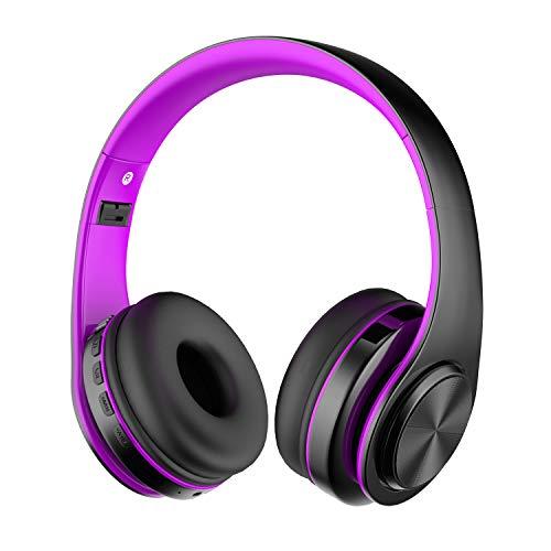 Alitoo Auriculares Inalámbricos Bluetooth Estéreo Plegable Auriculares de Diadema con micrófono Cancelación de Ruido sobre Oreja Cascos para Smartphone,PC,TV,Tableta,Android,MP3 y MP4 (Black&Purple)