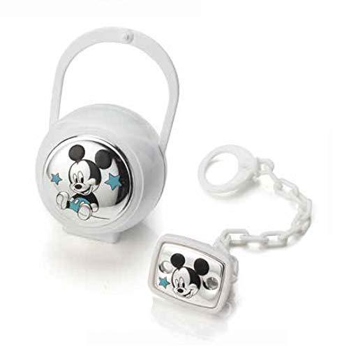 Disney Baby - Mickey Mouse - Attache sucette, range-sucette et boîte en argent - cadeau pour baptême/anniversaire